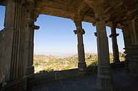 Colonnade in a fort, Kumbhalgarh Fort, Udaipur, Rajasthan, India