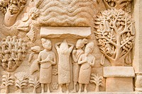 Details of carvings on a wall, Sanchi, Bhopal, Madhya Pradesh, India