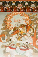 Mural on a wall, Tibetan Temple, Bodhgaya, Gaya, Bihar, India