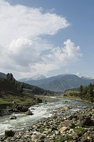 High angle view of a river with a mountain in the background, Pahalgam, Anantnag District, Jammu And Kashmir, India