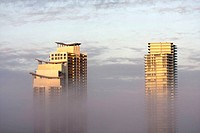 Florida, Miami Beach, South Pointe, Murano, Icon, high rise, condominium, fog, low, visibility, weather, building, architecture, modern, top floors