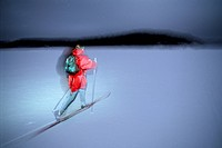 A person cross country skiing at night, Sweden