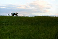 Cannon on a former battlefield at sundown, Manassas, Virginia, USA