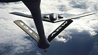 A B-2 Spirit positions to receive fuel from a KC-135 Stratotanker March 10 over the Pacific Ocean. More than 270 Airmen and four B-2s are deployed to ...