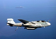 In the Arabian Sea (Dec. 4, 2001) __ An EA_6B 'Prowler' from the 'Rooks' of Tactical Electronic Warfare Squadron One Three Seven (VAQ_137) circles USS...