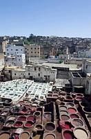Overview tanners quarter, chouara, Fes, Morocco