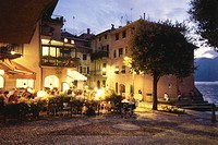 Restaurant La Pace at night, Old Town, Malcesine, Veneto, Italy