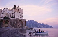 Fishermen on the beach in the evening, Atrani, Campania, Italy
