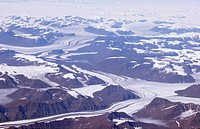 Glaciers, moranes and mountains on greenland's west coast, Greenland