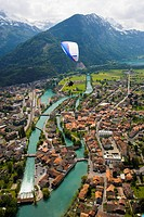 Tandem paragliding over Interlaken, Bernese Oberland highlands, Canton of Bern, Switzerland