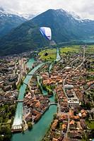 Tandem paragliding over Interlaken, Bernese Oberland highlands, Canton of Bern, Switzerland