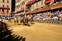 Palio, horse_racing, festival at Piazza del Campo, Siena, Tuscany, Italy