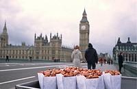 Bags of roasted nuts on Westminster Bridge, London, England