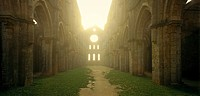 Inside the roofless Cathedral at sunrise, San Galgano, south of Siena, Tuscany, Italy