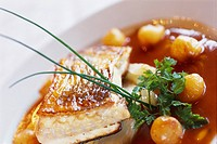 Fish dish at the restaurant Le Train Bleu, Paris, France