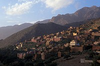 Village in mountainous landscape, Tafraoute, Marocco