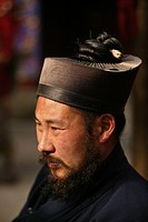 Taoist monk wearing headwear for long hair with an opening for plaits, Azure Clouds Temple, Tai Shan, Shandong province, Taishan, Mount Tai, World Her...