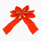 Close_up of a red Christmas bow