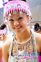 Teen dressed in traditional Hmong costume for festival event Hmong Sports Festival McMurray Field St Paul Minnesota USA