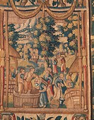 Crushing grapes, Flemish tapestry, end of 16th century, manufacture of Brussels.  Rome, Museo Di Palazzo Venezia (Palazzo Venezia Museum)
