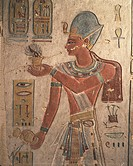 Egypt, Ancient Thebes, Valley of the Kings, Painted relief of pharaoh Ramses III