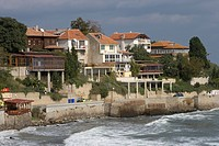 Bulgaria - Black Sea coast - Nesebur. Ancient Nesebur. UNESCO World Heritage List, 1983. Houses along the coast