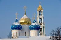 Russia - Golden Ring - Sergiev-Posad. Trinity Sergius Lavra (Troitse-Sergiyeva Lavra, founded 14th century, UNESCO World Heritage List, 1993). The dom...