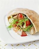 Chicken and Tomato Sandwich in Pita Bread