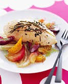 Herbed Chicken Breast over Onions and Beets