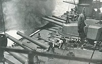 World War I - 20th century - Firing Italian warship Dante Alighieri, Taranto, 1914