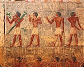 Egypt - Cairo - Ancient Memphis (UNESCO World Heritage List, 1979). Saqqara. Necropolis. Private funerary mastaba of vizier Ptahhotep, Old Kingdom, 5t...