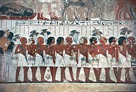 Egypt - Ancient Thebes (UNESCO World Heritage List, 1979). Necropolis at Shaykh 'Abd al-Qurnah (Abd el-Qurna). Tomb of vizier Ramose, New Kingdom, 18t...