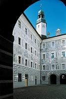 Austria - Tyrol (Tirol) - Innsbruck. Ambras Palace (Schloss Ambras). Renaissance palace. Inner courtyard. Grisaille frescoes, 16th century