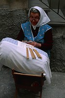 Woman making a pillow, Isernia, Sannio, Molise, Italy