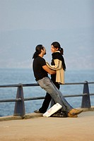 young couple at seafront in Beirut Lebanon