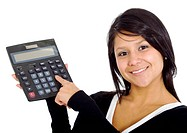 female accountant with calculator