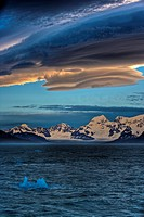 SUNSET showing lenticular clouds. South Georgia