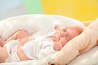 Baby, lying, supine position, sleeping, peaceful,