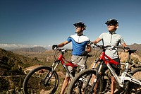 spain, Gran Canaria pair, mountainbiker, bicycles, athletically, pause, landscape