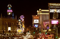 usa, Nevada, Las Vegas, Vegas strip buildings illumination evening North America, destination, sight, city, houses, buildings, hotels, casino, archite...