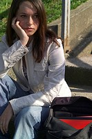 Sits, stairway, girl, sorrowfully, unfortunately, series, people, teenagers, teenager_girl, brunette, satchel, handbag, thoughtfully, thinking, love_s...