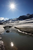 Italy, South_Tyrol, Schnals_valley glacier, ice, snow, melts, back light,