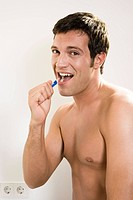 Man, attractively, teeth, cleaning, topless, semi_portrait,