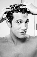 Man, attractively, hair, cleaning, foam, portrait, s/w,