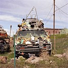 usa, Nevada, Goldfield, Art Car park, vehicle, decoration, objects, miner_settlement, vehicle, car, use_objects, stopped garbage, symbol art strange, ...