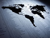 World map on list of share prices