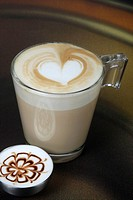 latte coffee with heart