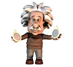 Albert Einstein. Cartoon of the Swiss_German physicist Albert Einstein 1879_1955 holding clocks, representing his theories on space_time. Einstein rec...