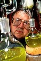 Plant oil extraction. Close_up of a chemist looking at flasks containing oil that is being extracted from Cuphea seeds. Oil from Cuphea seeds has a lo...