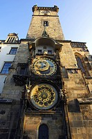 Astronomical clock, south front, old town hall, Prague, Czechia